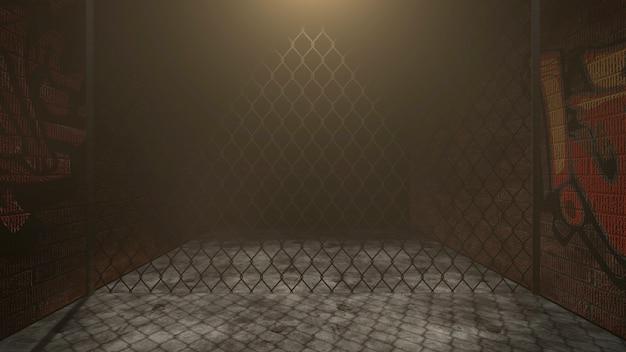 Dunkle gasse der stadt mit grunge-wand des gebäudes nachtzeit. grunge und luxuriöser 3d-illustrationsstil für cyberpunk- und stadtbild-vorlage