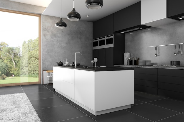 Dunkle küche des 3d-rendering-lofts nahe ansicht vom fenster