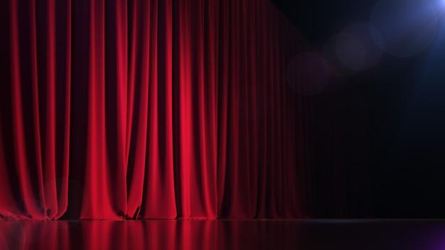 Dunkle leere bühne mit sattem rotem vorhang und putz