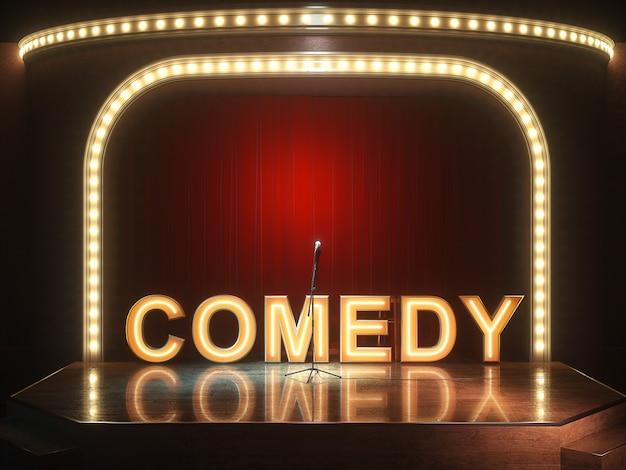 Dunkle leere comedy-kabarettbühne. 3d-illustration