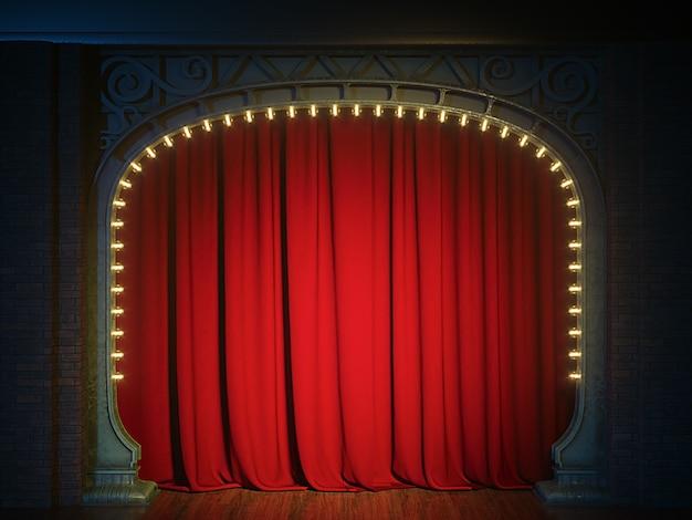Dunkle leere kabarett- oder comedy-clubbühne mit rotem vorhang und jugendstilbogen. 3d-rendering
