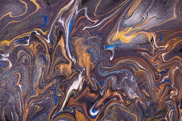 Dunkle lila und orange farben des abstrakten fließenden kunsthintergrunds.
