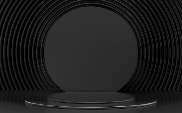 Dunkle luxus-3d-rendering-podium-display-produktbühne mit abstraktem kreismusterhintergrund