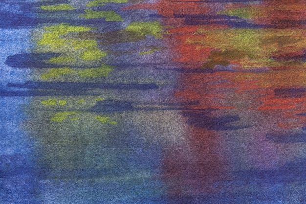 Dunkle marineblau- und rotfarben des abstrakten kunsthintergrunds. aquarellmalerei auf leinwand mit lila weichem farbverlauf.