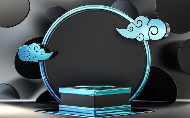 Dunkle metallisch blaue wolke abstrakte kreis podiumsbühne für die produktpräsentation 3d-rendering