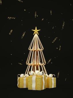 Dunkle minimale weihnachtskartenillustration mit goldenem weihnachtsbaum und goldenen geschenken d rendern