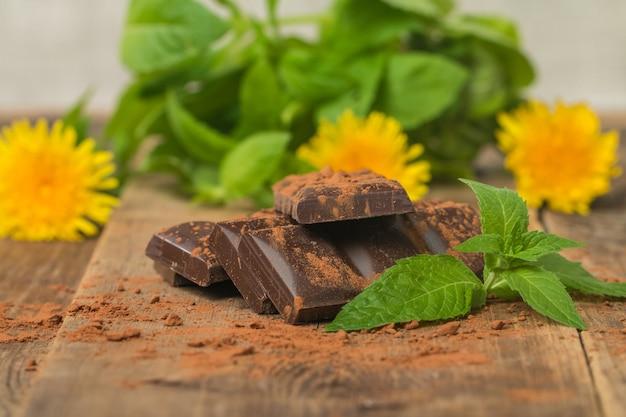 Dunkle schokolade mit minzblatt