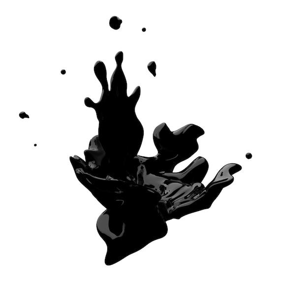 Dunkle schokolade wirbel und spritzer flüssigkeit isoliert auf weißem hintergrund 3d-spritzer rendern
