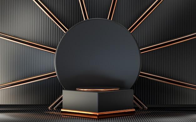 Dunkle und goldene abstrakte leerraum-podiumsanzeige für produktwerbung 3d-rendering