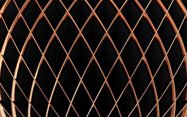 Dunkle und goldene form 3d-rendering geometrischen abstrakten hintergrund