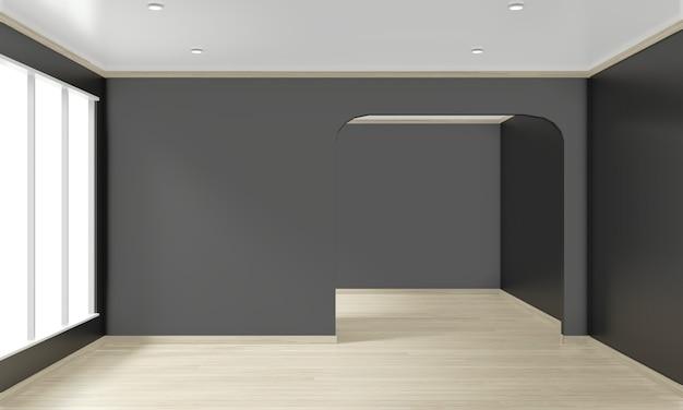 Dunkle wand des leeren raumes auf hölzerner innenarchitektur des bodens. 3d-rendering