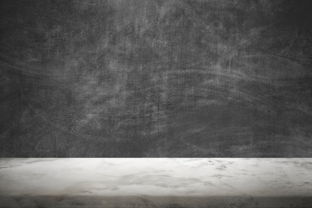 Dunkle zementwand mit weißem marmorboden-produkthintergrund
