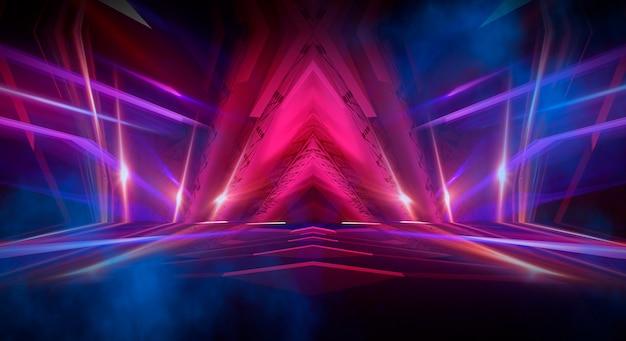 Dunkler abstrakter futuristischer hintergrund. neonlinien leuchten. neonlinien, formen. mehrfarbig leuchtende, verschwommene lichter. leerer bühnenhintergrund. dunkelblauer hintergrund, gelbe strahlen.