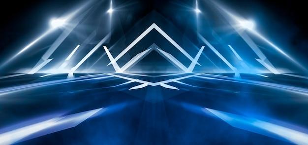 Dunkler abstrakter futuristischer hintergrund. neonlinien leuchten. neonlinien, formen. verschwommene lichter. leerer bühnenhintergrund. dunkelblauer hintergrund, gelbe strahlen.