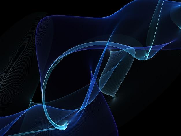Dunkler abstrakter hintergrund mit glühende abstrakte wellen