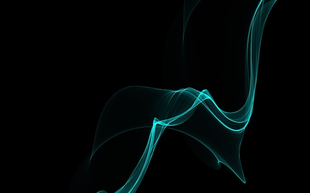 Dunkler abstrakter hintergrund mit leuchtenden abstrakten wellen, abstrakter hintergrund