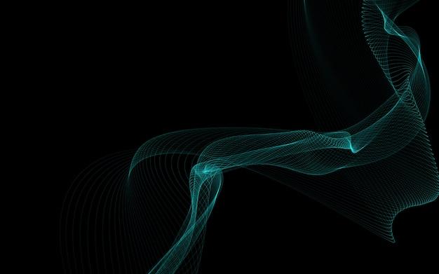 Dunkler abstrakter hintergrund mit leuchtenden abstrakten wellen