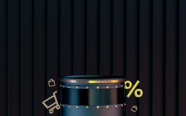 Dunkler abstrakter hintergrund mit podium für produktpräsentation rabattangebot online-shop 3d-rendering