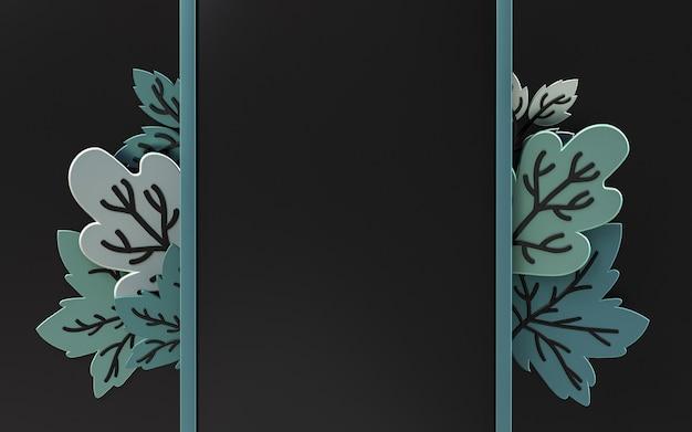 Dunkler abstrakter leerer raumhintergrund mit herbstahornblättern 3d-rendering