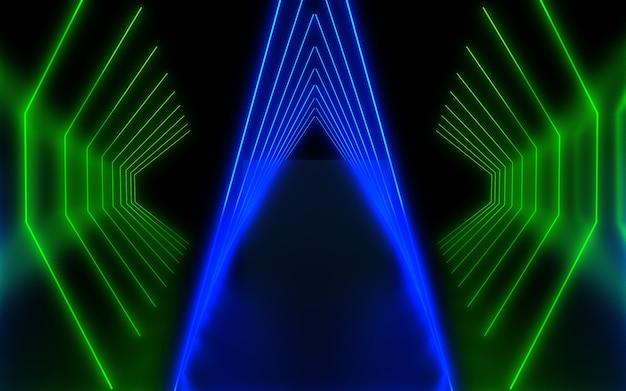 Dunkler abstrakter neonhintergrund. 3d-darstellung