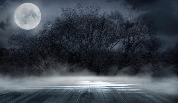 Dunkler abstrakter winterwaldhintergrund.
