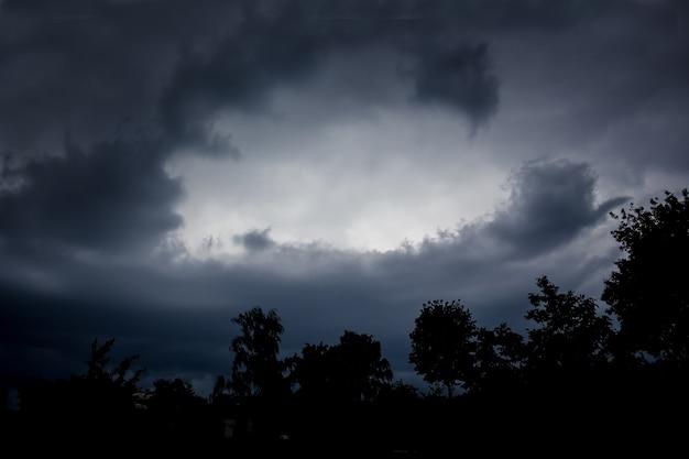 Dunkler dramatischer dunkler himmel und schwarze silhouetten von bäumen