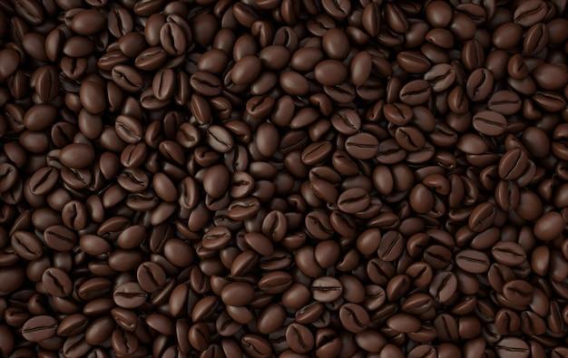 Dunkler frisch gerösteter kaffeebohnen-3d-rendering-hintergrund