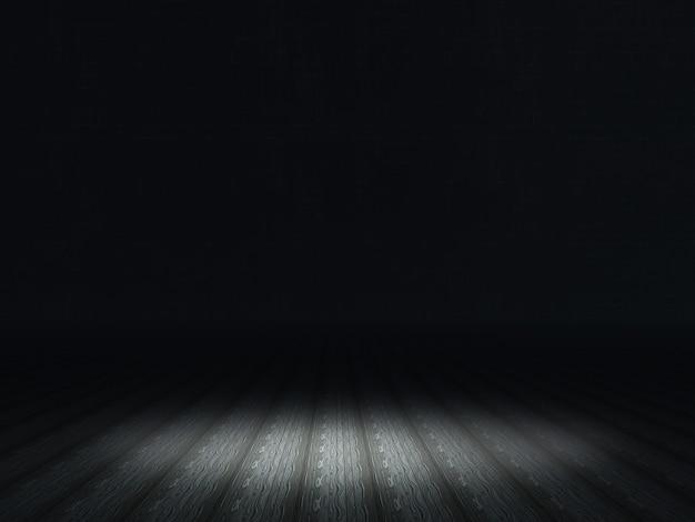 Dunkler grunge innenraum mit dem scheinwerfer, der auf bretterboden scheint
