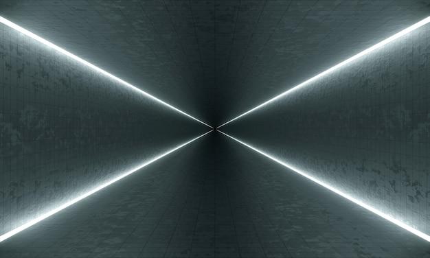Dunkler grunge-tunnel mit led-licht