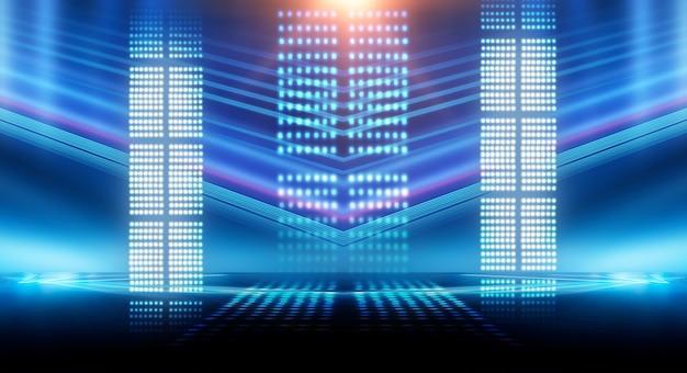 Dunkler hintergrund mit linien und scheinwerfern, blaues neonlicht, nachtansicht