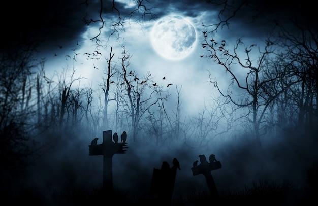 Dunkler horrorhalloween-grabsteinhintergrund