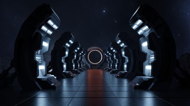 Dunkler leerer korridor in die zukunft