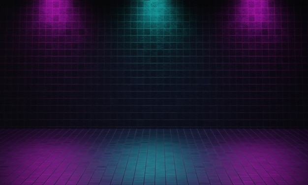 Dunkler leerer raum aus ziegeln mit violettem und blauem hintergrund