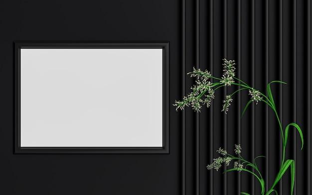 Dunkler luxuriöser horizontaler fotorahmen-modellhintergrund mit grünen blättern 3d-rendering