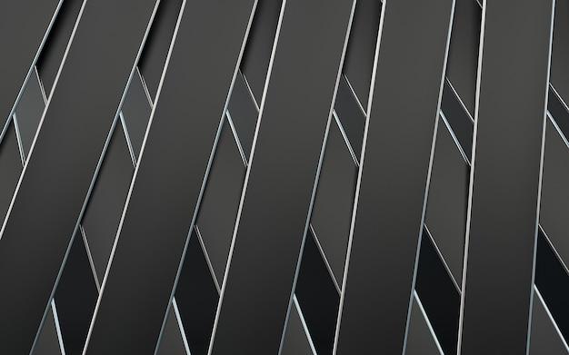 Dunkler metallischer geometrischer abstrakter linienmusterhintergrund 3d-rendering