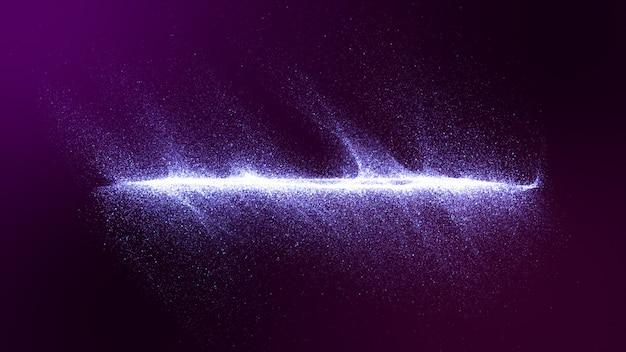 Dunkler purpurroter hintergrund mit kleinen partikeln trat zusammen in wellen zusammen.