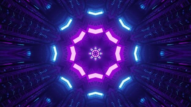 Dunkler science-fiction-tunnel mit dekorativer neonbeleuchtung 4k uhd 3d-darstellung