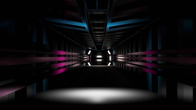 Dunkler scifi-tunnel mit roten und blauen leuchtlichtern