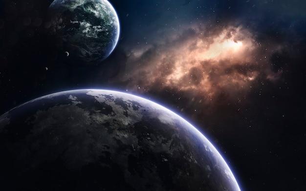 Dunkler weltraum mit riesigen planeten im weltraum