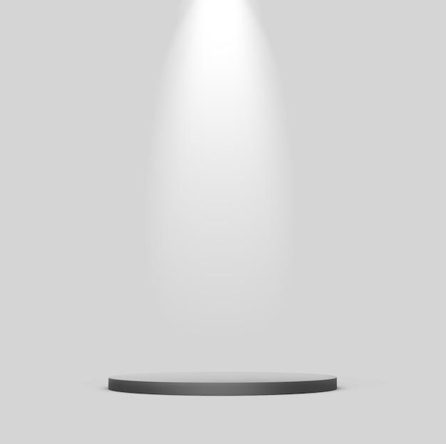 Dunkles podium mit scheinwerfer auf grau