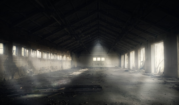 Dunkles verlassenes gebäude
