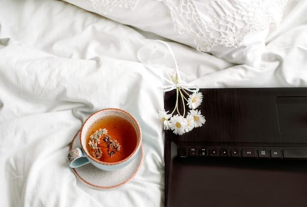 Durchbrochene spitze, weiße baumwolldecke. buch botanik, tasse mit natürlichem kräutertee aus minze, sommer gänseblümchen blumen. morgenfrühstück im bett. provence und retro-stil. saubere gemütlichkeit und frische.
