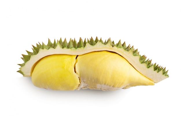 Durian und durian schälen sich auf weiß