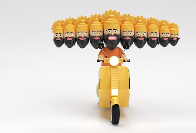 Dussehra-feier - ravana mit zehn köpfen, die motorroller 3d-rendering-illustration reiten.