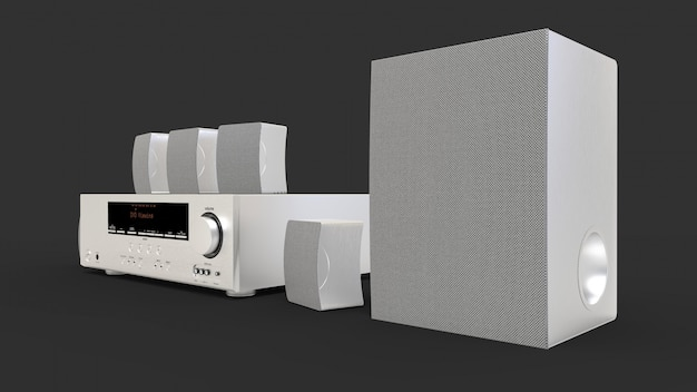 Dvd-receiver und heimkinosystem mit lautsprechern und subwoofer aus aluminium. abbildung 3d.