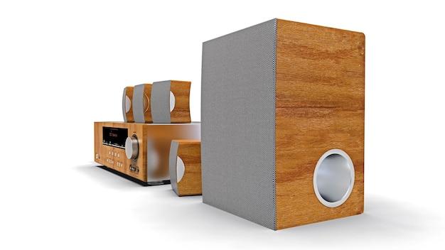 Dvd-receiver und heimkinosystem mit lautsprechern und subwoofer aus aluminium und holz. 3d-illustration.
