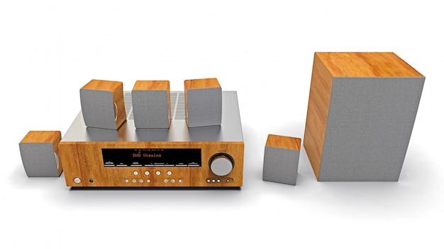 Dvd-receiver und heimkinosystem mit lautsprechern und subwoofer aus aluminium und holz