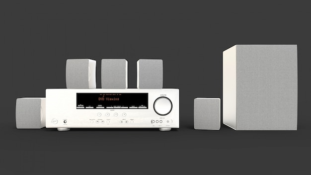Dvd-receiver und heimkinosystem mit lautsprechern und subwoofer aus aluminium