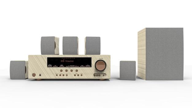 Dvd-receiver und heimkinosystem mit lautsprechern und subwoofer aus lackiertem metall und hellem holz. 3d-illustration.