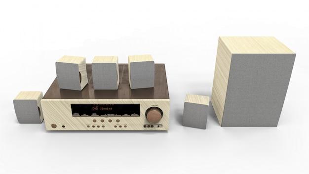 Dvd-receiver und heimkinosystem mit lautsprechern und subwoofer aus lackiertem metall und hellem holz